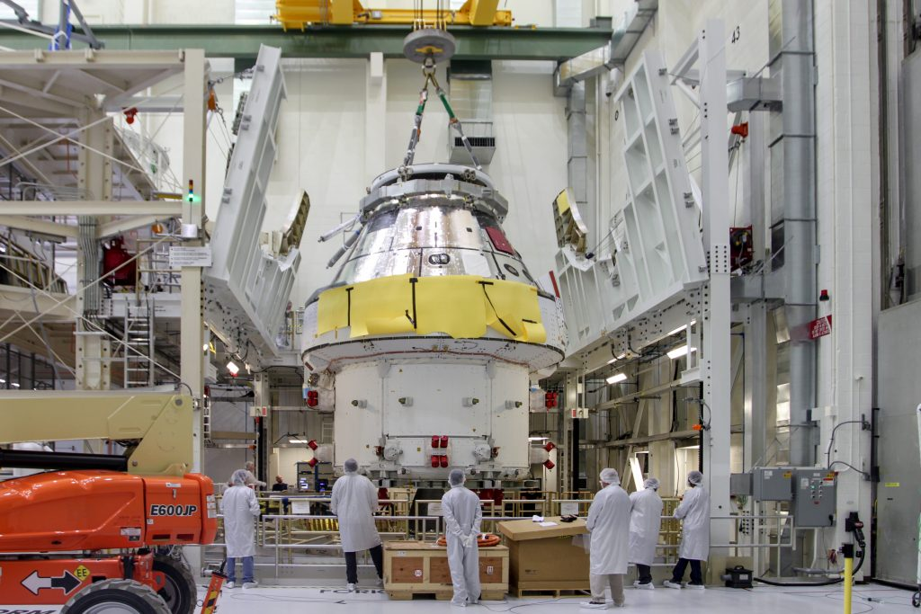 Orion loading at Kennedy Space Center. Credits: NASA