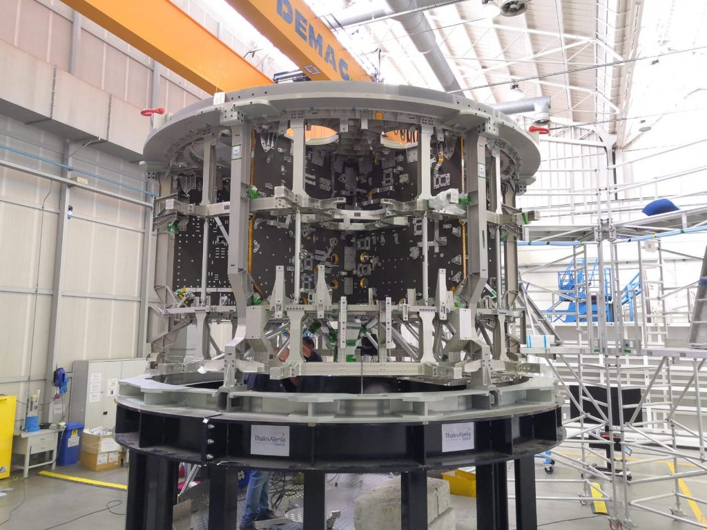 European Service Module-3 structure at Thales Alenia Space in Turin, Italy, nearing completion. Credits: Thales Alenia Space