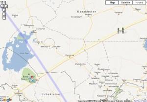 Ground track of Soyuz chasing ISS