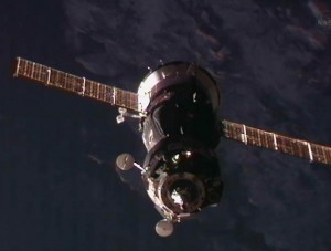 View of the Soyuz spacecraft as it approaches for docking with the ISS