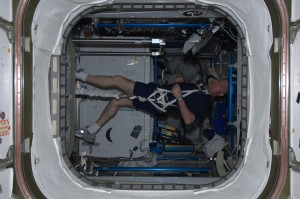 André exercising in the ISS
