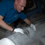 Placing sample in MELFI freezer (credit: ESA/NASA)