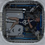 André exercises on the treadmill (Credit: ESA/NASA)