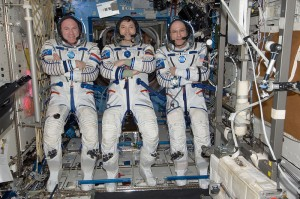 Oleg, Don and André in their Russian Sokol suits (Credit: NASA)
