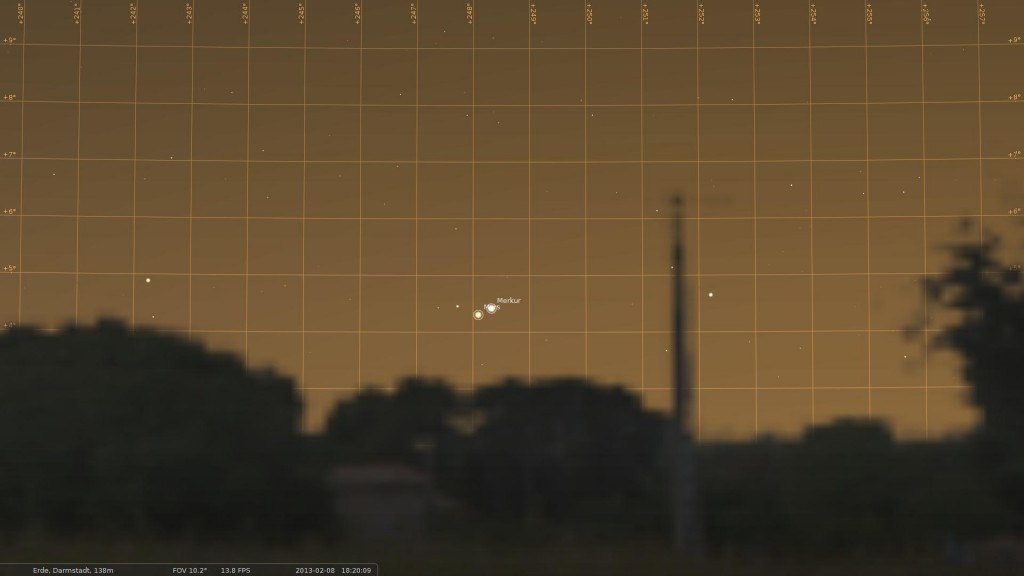 Simulation of view toward the West horizon from Darmstadt on 8 February 2013 at about 18:20 CET. Simulation done with Stellarium. Credit: M. Khan