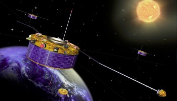 Cluster satellites study the effects of solar wind. Credit: ESA