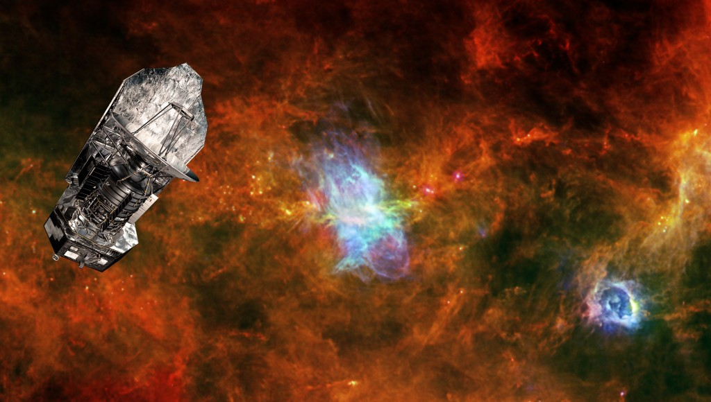 Herschel and Vela C: ESA's Herschel space observatory set against a background image of the Vela C star-forming region. Copyright ESA/PACS & SPIRE Consortia, T. Hill, F. Motte, Laboratoire AIM Paris-Saclay, CEA/IRFU – CNRS/INSU – Uni. Paris Diderot, HOBYS Key Programme Consortium