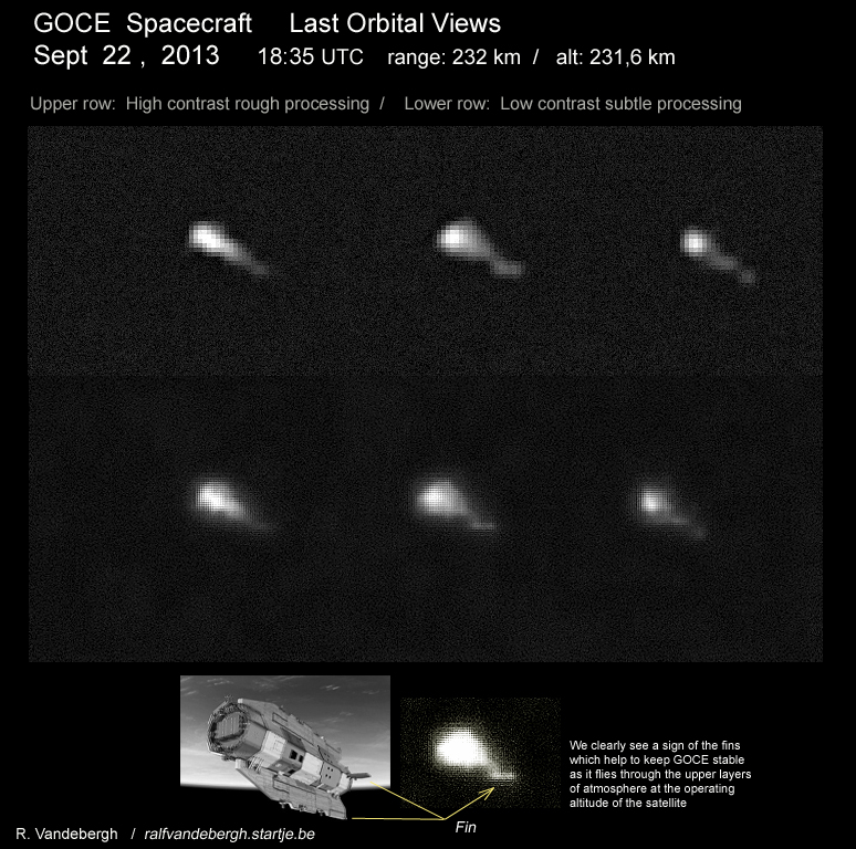GOCE seen in orbit on 22 September 2013 from The Netherlands. Credit: R. Vandebergh
