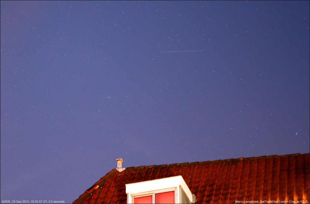 GOCE over Leiden, NL, 29 September 2013. Credit: M. Langbroek