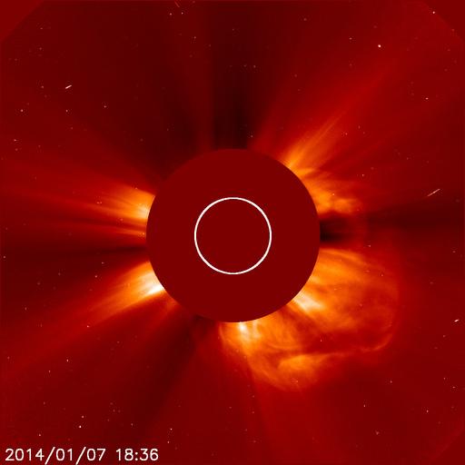 SOHO Lasco C2 view of Sun 7 January 2014 at 18:36 UTC Credit: ESA/NASA