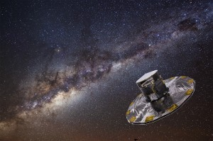 Gaia mapping the stars of the Milky Way. Credit: ESA/ATG medialab; background: ESO/S. Brunier