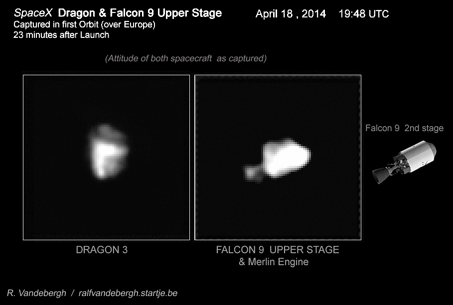 SpaceX Dragon & Falcon 9 upper stage seen 23 minutes after launch on 18 April 2014. Image credit & copyright: R. Vandebergh /ralfvandebergh.startje.be