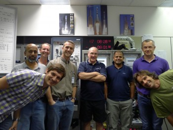 The team at Perth today: from left Robert Launer, Robert Nambiar, Cliff Shaw, Jose Ignacio Lorenzatti, Andy Croxall, Manoj Rodrigo, Colin Cassidy, Danilo Zonta Credit: ESA