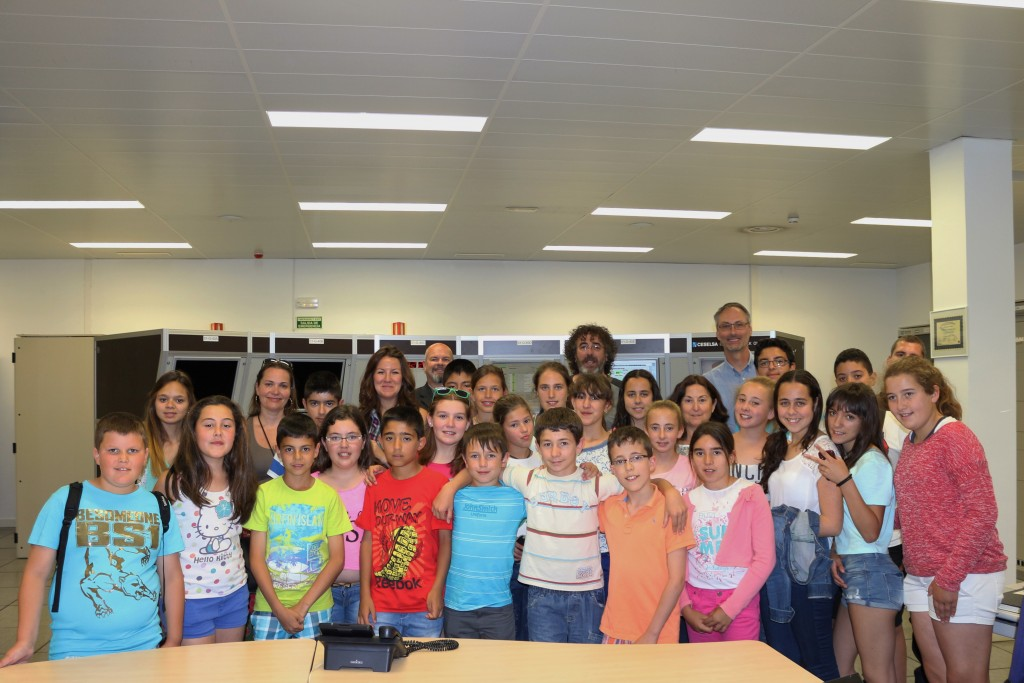 Colegio Peñaluenga students and teachers at ESAC, just after they shouted out the 'send' command to the Estrack control room at ESOC to send a signal into the future. Credit: ESA