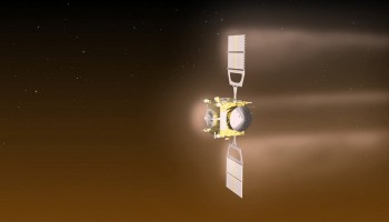 Visualisation of Venus Express during the aerobraking manoeuvre, which will see the spacecraft orbiting Venus at an altitude of around 130 km from 18 June to 11 July. In the month before, the altitude will gradually be reduced from around 200 km to 130 km. If the spacecraft survives and fuel permits, the elevation of the orbit will be raised back up to approximately 450 km, allowing operations to continue for a further few months. Eventually, however, the spacecraft will plunge back into the atmosphere and the mission will end. ESA–C. Carreau