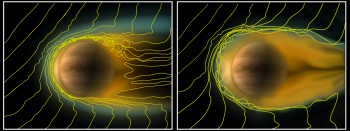 A comparison of the ionosphere of Venus under different solar wind conditions. The yellow lines indicate the solar magnetic field lines as they interact with the ionosphere. Credit: ESA/Wei et al (2012)