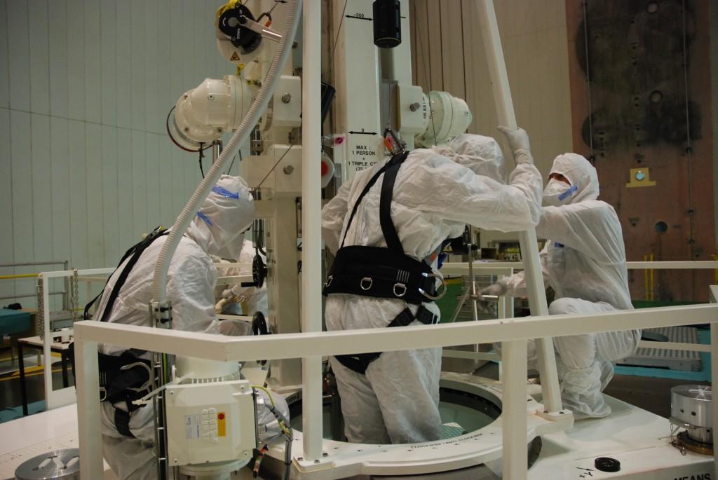 O. Credit: ESAperator entering the ATV using the LCAM lift
