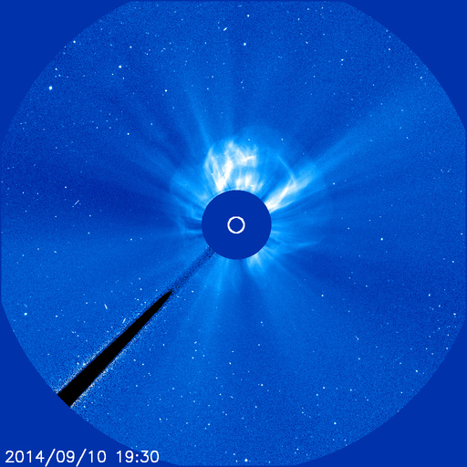 SOHO LASCO C3 coronagraph CME 10 Sep 2014 Credit: ESA/NASA