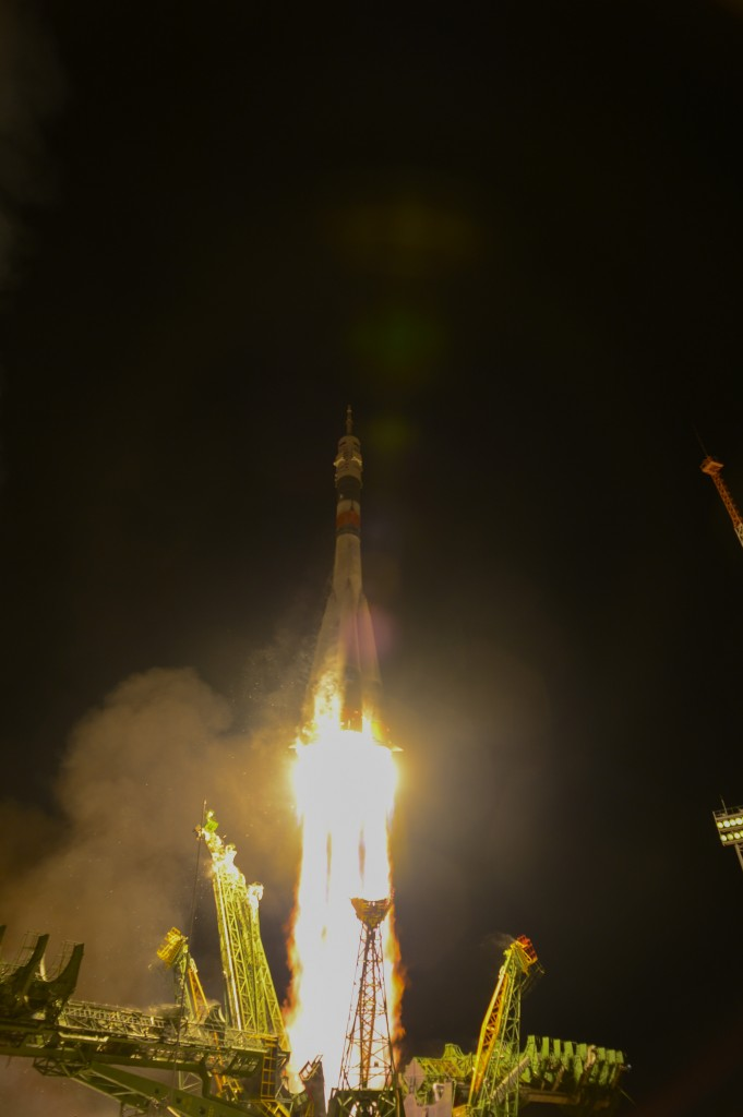 The Soyuz TMA-15M spacecraft was launched from Baikonur cosmodrome in Kazakhstan on 23 November 2014 with ESA astronaut Samantha Cristoforetti and her crewmates to the weightless research centre where they will live and work for five months. Credit: ESA/S. Corvaja