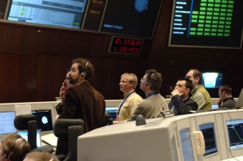 Andrea Accomazzo, 3rd from right, Venus Express Spacecraft Operations Manager, and members of the Venus Express mission control team anxiously await confirmation of orbit entry in ESOC's Main Control Room, 11 April 2006. Credit: ESA/J. Mai
