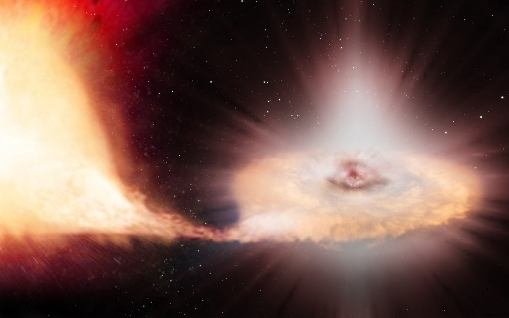 An artist's impression of a Type Ia supernova – the explosion of a white dwarf locked in a binary system with a companion star. Credit: ESA/ATG medialab/C. Carreau