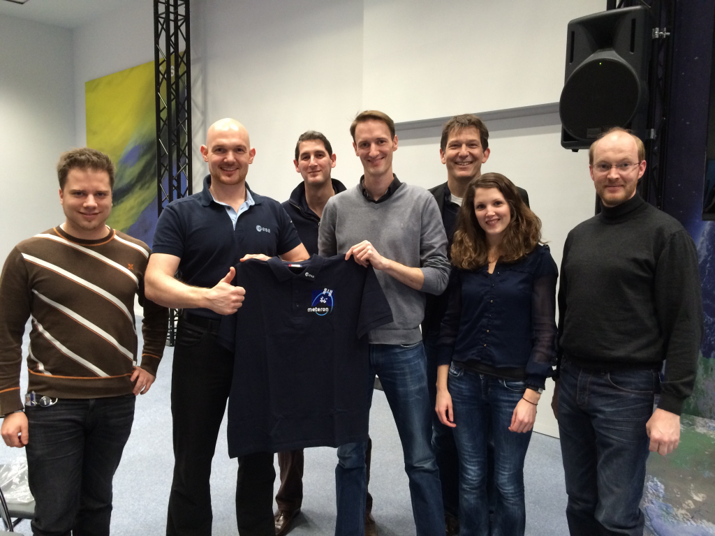 ESA astronaut Alexander Gerst meets the Meteron team at ESOC, his first visit after having remotely operated the Eurobot rover from the ISS in 2014. Credit: ESA
