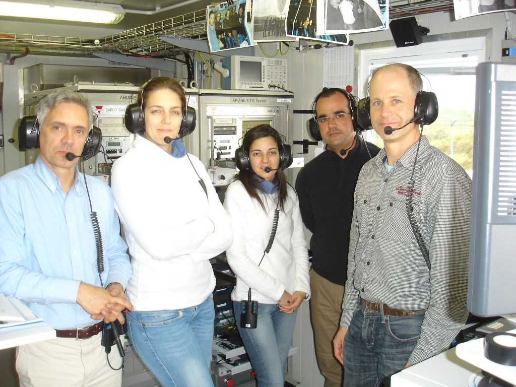 Gerhard Billig, at right, from ESOC, is joined by the engineering team at Santa Maria station for a full network check on 25 March. Credit: ESA CC BY-SA IGO 3.0 https://creativecommons.org/licenses/by-sa/3.0/igo/