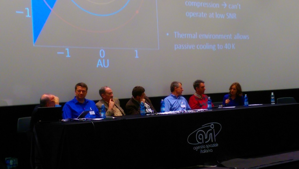 Taping Planetary Radio at ASI, Rome, during #PDC2015, 15 April 2015. Some top asteroid folks on stage (L-R): Mat Kaplan, Bruce Betts, Lindley Johnson, Detlef Koschny, Paul Chodas, Fabrizio Bernardi and Amy Mainzer. Credit: ESA CC BY-SA IGO 3.0