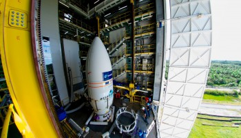 The VV05 Vega fairing holding the Sentinel-2A satellite in the launch gantry at Europe's Spaceport in Kourou, French Guiana. Credit: ESA–M. Pédoussaut