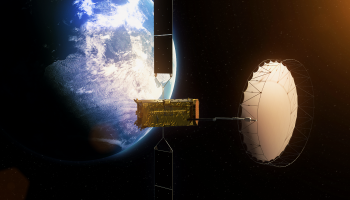 Alphasat is the largest European telecom satellite ever built, exceeding 6.6 tonnes at launch. Its solar array, spanning almost 40 m, generates more than 12 kW of power