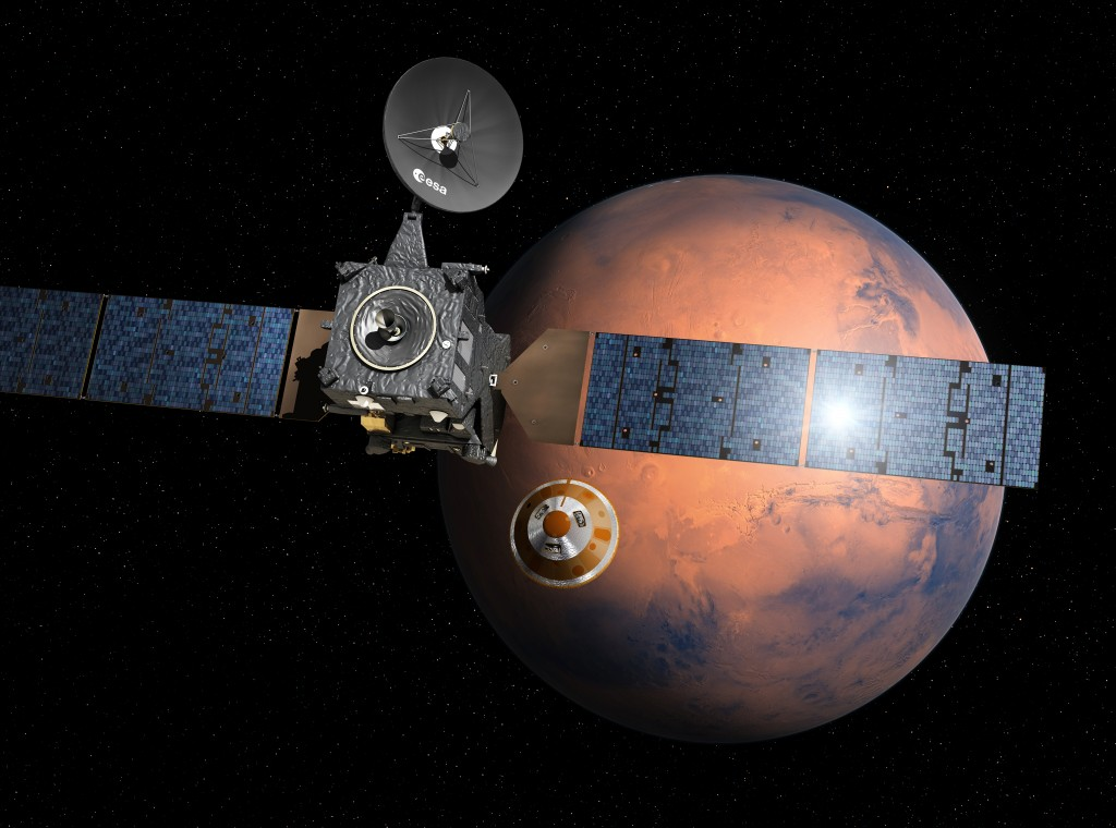 Artist's impression depicting the separation of the ExoMars 2016 entry, descent and landing demonstrator module, named Schiaparelli, from the Trace Gas Orbiter, and heading for Mars. TGO will be launched in 2016 with Schiaparelli, the entry, descent and landing demonstrator module. It will search for evidence of methane and other atmospheric gases that could be signatures of active biological or geological processes on Mars. TGO will also serve as a communications relay for the rover and surface science platform that will be launched in 2018. Credit: ESA–D. Ducros