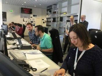 Team preparing to send the REBOOT command Credit: ESA