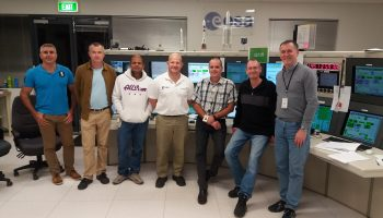 Engineering team from ESOC and Inmarsat working at ESA's New Norcia tracking station in support of the launch of Soyuz flight VS15 on 24 May 2016. Credit: ESA/Inmarsat Solutions B.V.