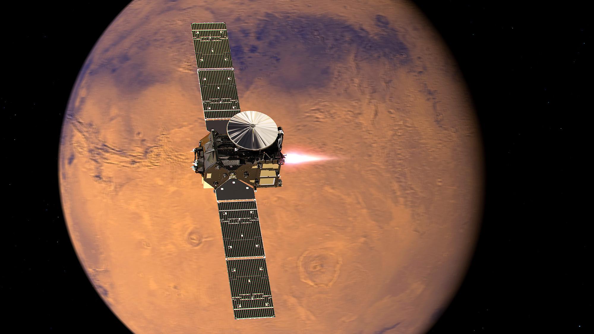 Artist's impression visualising the ExoMars 2016 Trace Gas Orbiter (TGO), with its thrusters firing, beginning its entry into Mars orbit on 19 October 2016. Credit: ESA/ATG medialab