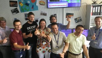 A happy ExoMars team at ESOC Credit: ESA