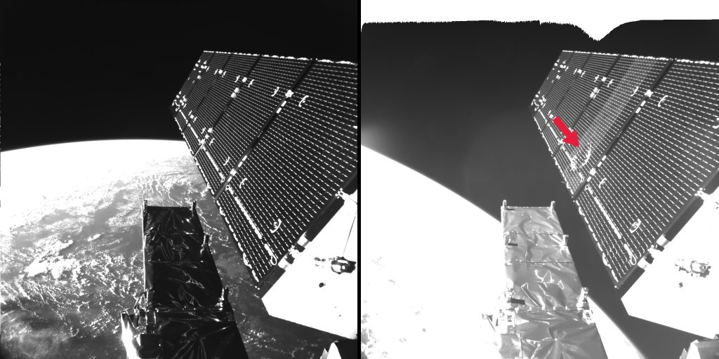 Sentinel-1A solar array before & after Credit: ESA