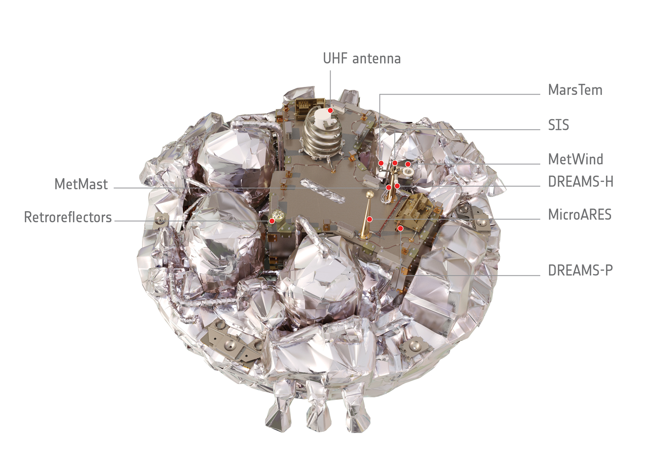This artist's impression shows the interior of the Schiaparelli entry, descent and landing demonstrator module. Schiaparelli, part of the ExoMars 2016 mission, was launched together with the Trace Gas Orbiter on 14 March 2016 and will arrive at the Red Planet in October. Credit: ESA/ATG medialab