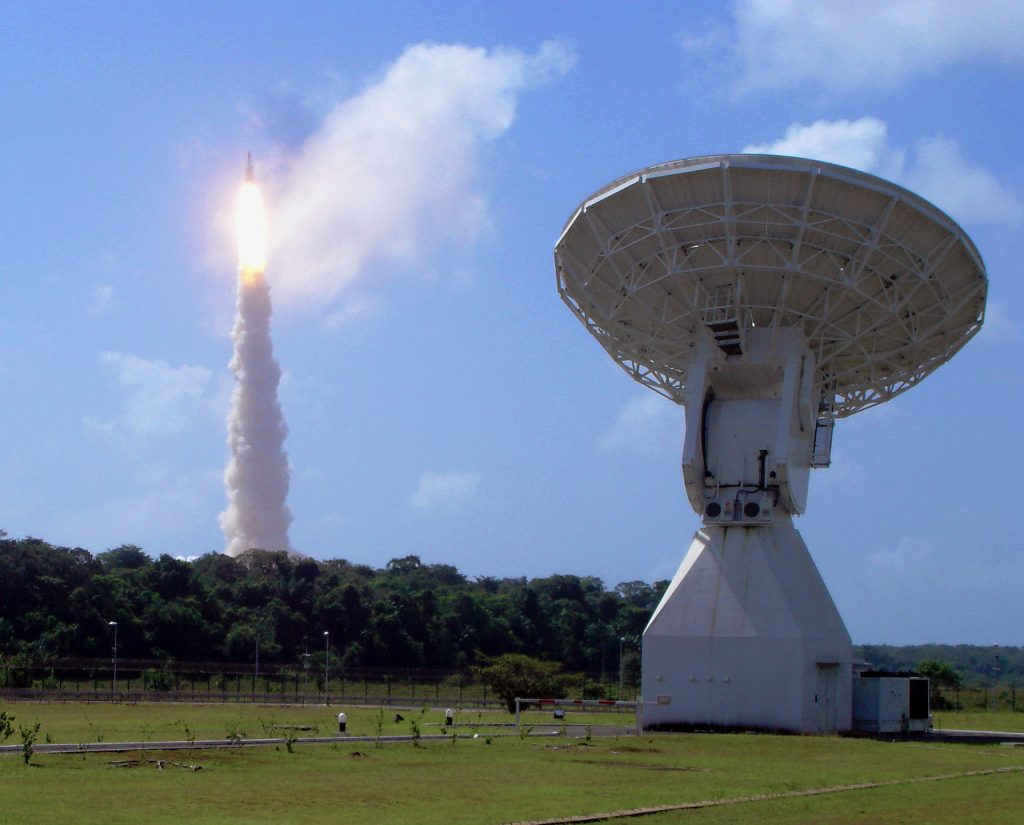 The Ariane 5 V188 launcher carrying Herschel and Planck rises above ESA's 15 m-diameter tracking dish at Kourou, French Guiana, on 14 May 2009. Credit: ESA/A. Chance