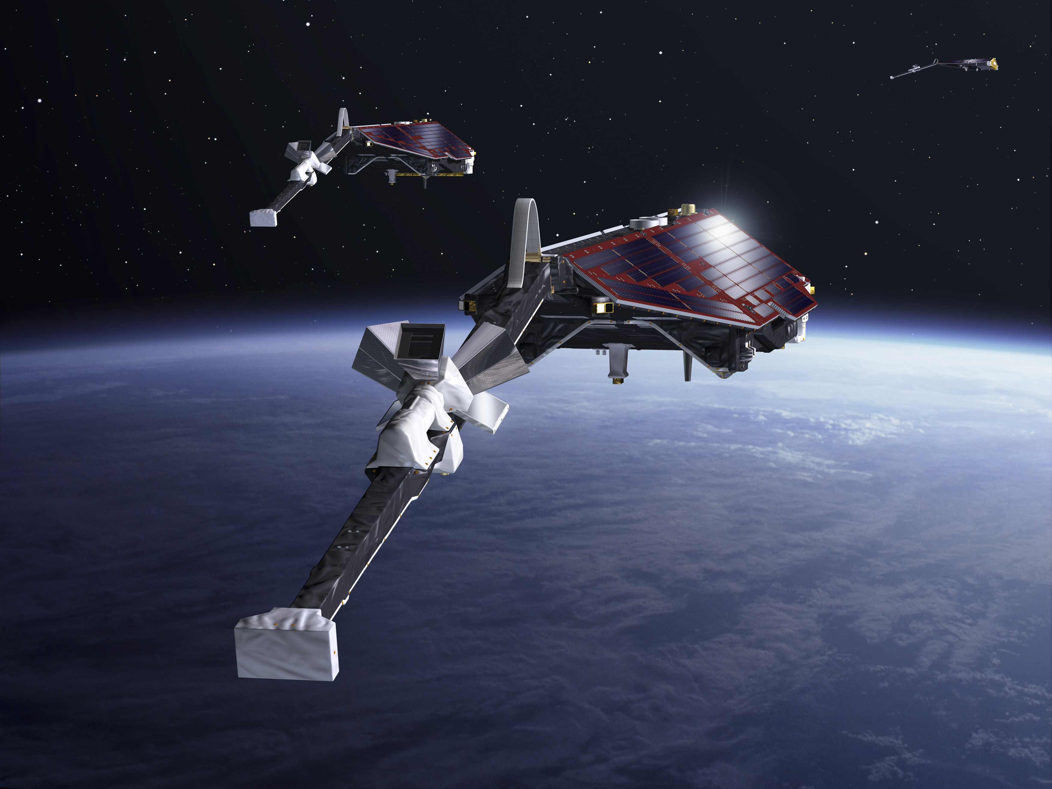 The three identical satellites were launched together on one rocket in 2013. Two satellites orbit almost side-by-side at the same altitude – initially at about 460 km, descending to around 300 km over the lifetime of the mission. The third satellite is in a higher orbit, at 530 km, and at a slightly different inclination. Credit: ESA–P. Carril, 2013