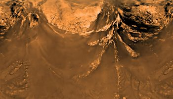 This poster shows a flattened (Mercator) projection of the Huygens probe's view from 10 kilometers altitude (6 miles). The images that make up this view were taken on Jan. 14, 2005, with the descent imager/spectral radiometer onboard the European Agency's Huygens probe.