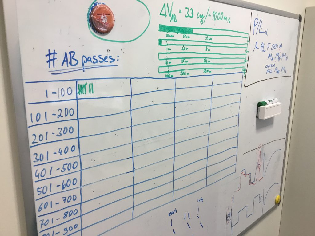 "Keeping it simple: Low-tech meets high-tech with the ""Aerobraking Progress Update Data Display,"" aka the white board, hanging in TGO operations engineer Jake Urbanek's office to unofficially record aerobraking progress. Credit: ESA"