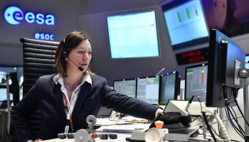 ExoMars/TGO Deputy Spacecraft Operations Manager Silvia Sangiorgi seen in the Main Control Room at ESOC during launch in March 2016. Credit: ESA/J. Mai