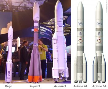 The current fleet of ESA launchers displayed as models during the ILA airshow in Berlin in 2016 (left), together with graphics of both Ariane 6 variants (right). Credit: ESA/Arianespace/H. Voss