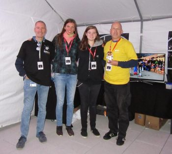 The model rocketry team from left to right: Alessandro Ercolani, Shari Van Treeck, Constanze Kramer and Holger Voss - with his tiny companion and space mascot Mausonaut. Image credit: Someone to whom Alessandro Ercolani gave his phone