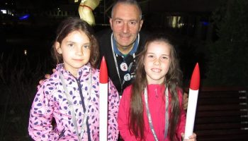 ESA's Alessandro Ercolani helping kids construct their first rocket. Image credit: Unknown