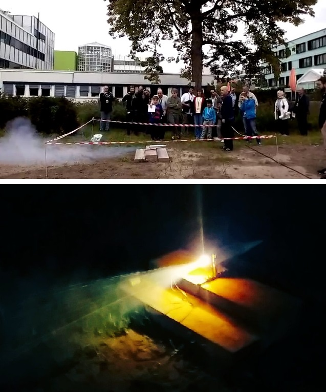 Firing an Ariane 6 booster model in daylight (top, image by Shari van Treeck) and in the dark (bottom, image credit: unknown)