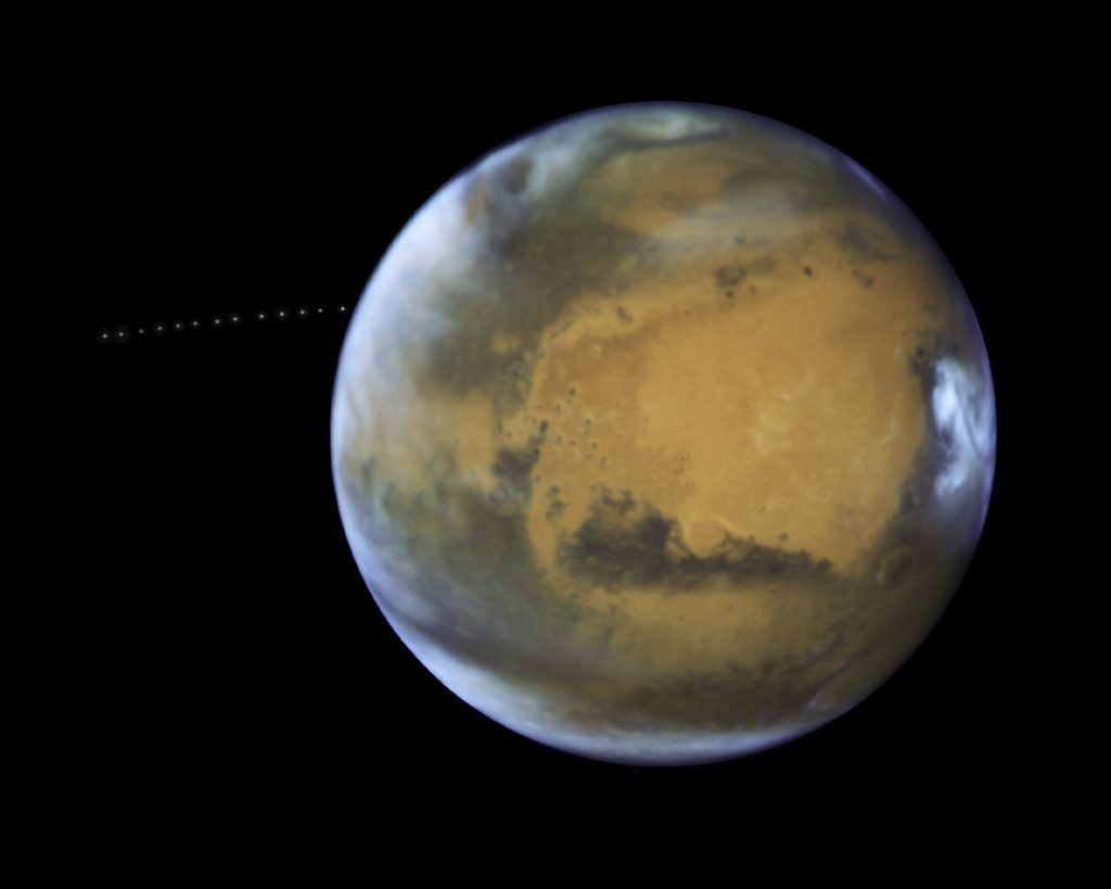 While photographing Mars, NASA's Hubble Space Telescope captured a cameo appearance of the tiny moon Phobos on its trek around the Red Planet. Discovered in 1877, the diminutive, potato-shaped moon is so small that it appears star-like in the Hubble pictures. Phobos orbits Mars in just 7 hours and 39 minutes, which is faster than Mars rotates. The moon's orbit is very slowly shrinking, meaning it will eventually shatter under Mars' gravitational pull, or crash onto the planet. Hubble took 13 separate exposures over 22 minutes to create a time-lapse video showing the moon's orbital path. Credit: NASA, ESA and Z. Levay (STScI) Acknowledgment: J. Bell (ASU) and M. Wolff (Space Science Institute)