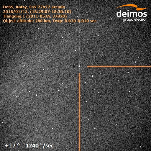 DSS Antsy image showing Tiangong-1 acquired 15 Jan 2018 Credit: 2018 Deimos Sky Survey