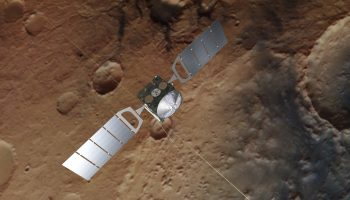 Artist's impression of Mars Express. The background is based on an actual image of Mars taken by the spacecraft's high resolution stereo camera Credit:s: Spacecraft image credit: ESA/ATG medialab; Mars: ESA/DLR/FU Berlin, CC BY-SA 3.0 IGO
