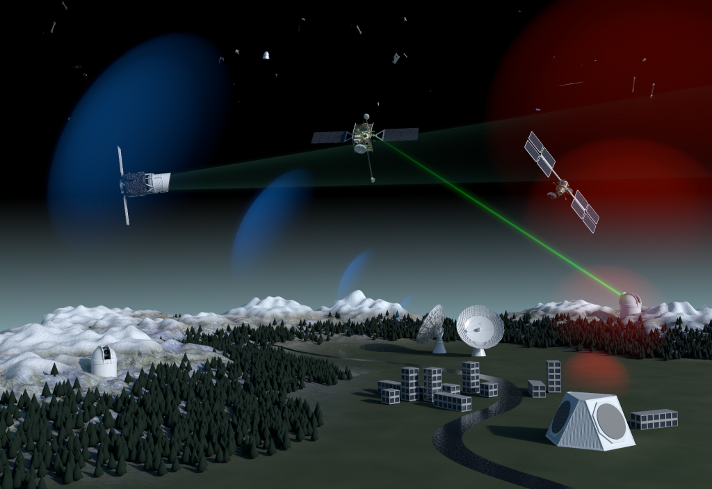 Concept for ESA's future space debris surveillance system employing ground-based optical, radar and laser technology as well as in-orbit survey instruments. Credit: ESA/Alan Baker, CC BY-SA 3.0 IGO